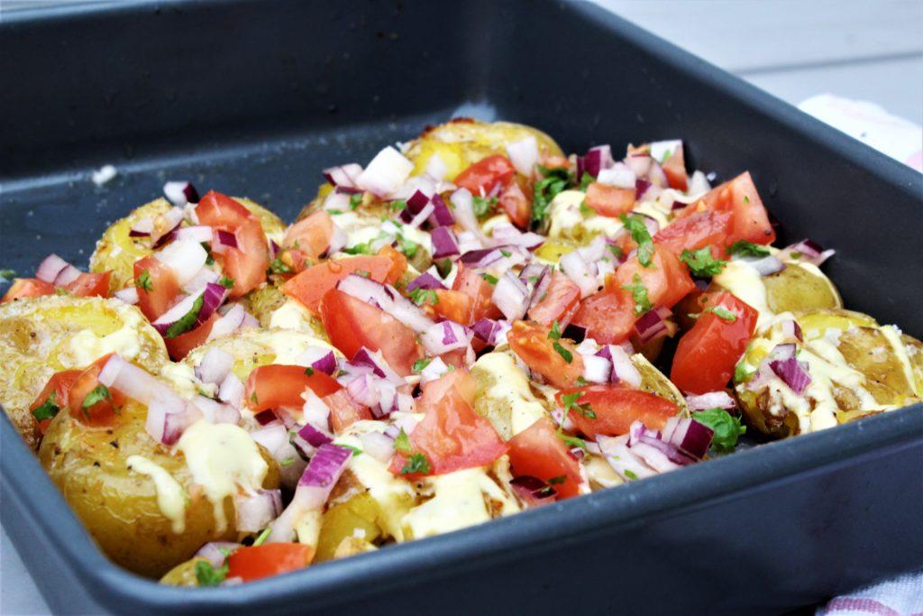 Knuste poteter med hvitløk